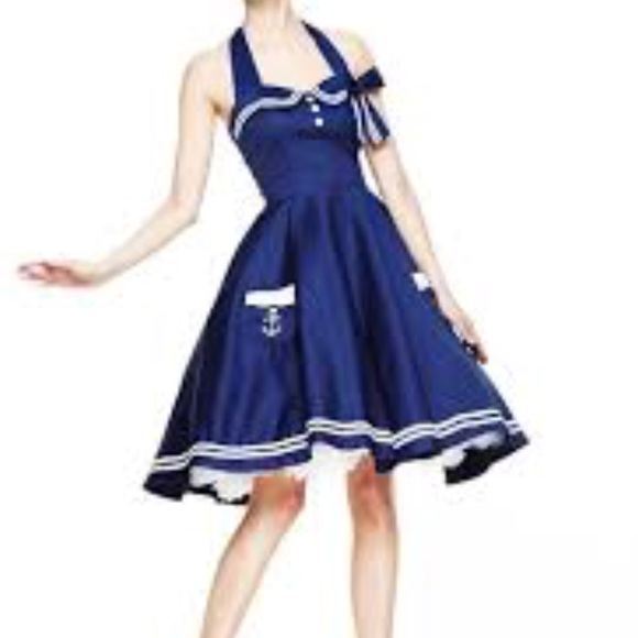 d864f0c271d Dresses   Skirts - Hell Bunny motley 50 s nautical swing dress small